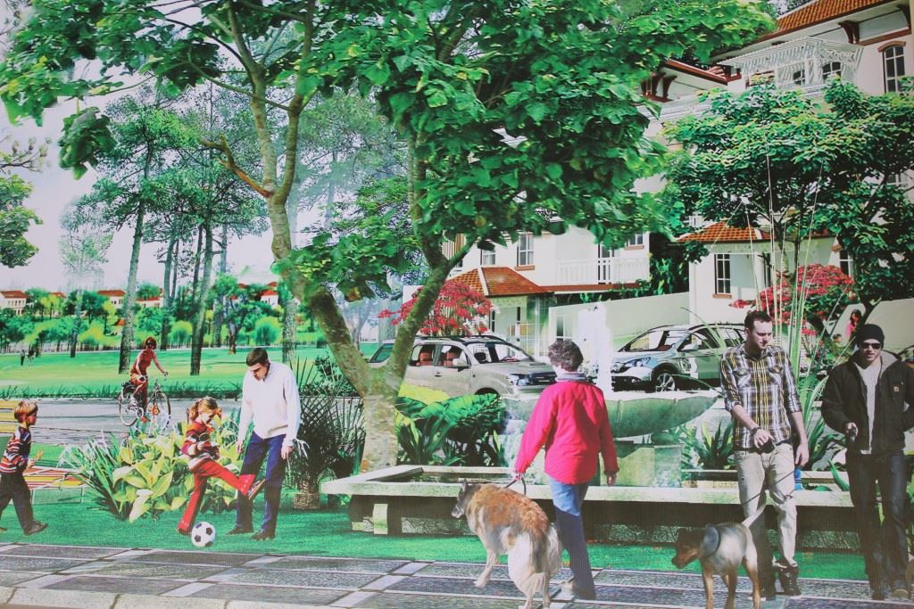 Illustration of people playing in park and walking dogs.